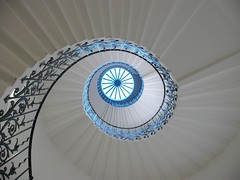 Spiral Staircase (Tasmin_Bahia) Tags: blue light shadow sunlight white colour detail window stairs spiral pretty shadows bright steps fresh staircase walls railing simple magical