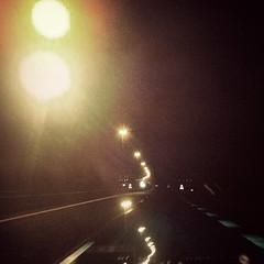 road 5 (Corrie Bouman) Tags: road car night highway driving nightshot doubleexposure iphone