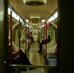 The London Underground. (Angeli's Photography. (;) Tags: people london underground subway perspective blueandred