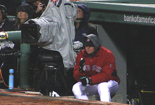 Lester huddles with the camera guy for warmth