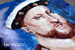 king Henry VIII mixed media painting by isewcute for tudor swap on craftster (isewcute) Tags: portrait england art illustration painting diy king handmade royal tudor swap historical iam henryviii craftster royalfamily henrytheeighth kinghenry isewcute
