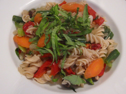 Rice Fusilli with Vegetables and Dry Vermouth