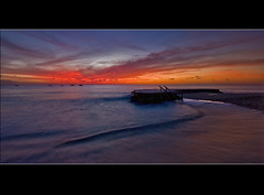 Barbados Sunset (Johan J.Ingles-Le Nobel) Tags: sunset red sea orange beach yellow landscape boats pier sand purple steps carribean calm crystalcove bahamas holetown johanjingleslenobel barbadoscrystalcove