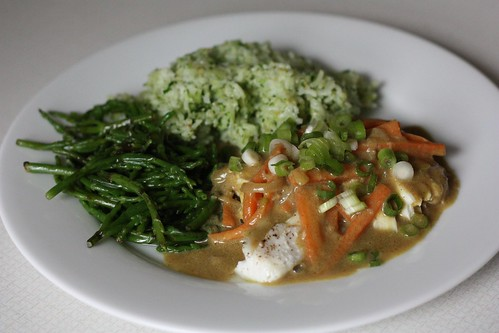 Halibut in Coconut Curry Sauce, Coconut Rice, and Sea Beans!