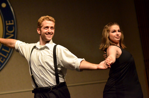 IC Ballroom dancers, Danielle Carrier '12 and Vince Whitney '11, perform at the Japan Benefit Concert. Photo by Matt Prokosch.