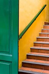 Trio de couleurs (Lucille-bs) Tags: door orange green yellow wall jaune stair canarias vert tenerife porte mur canaries escalier couleur marche afrique htel rampe archipel ilescanaries abigfave elguincho arethesebuildings islandscanarias htelruralelpatio