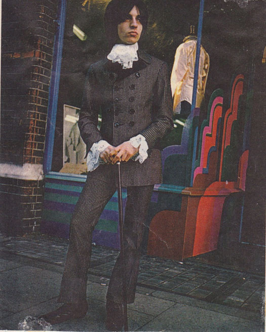 Alan Holston outside Dandie Fashions, 161 Kings Road, 1967.