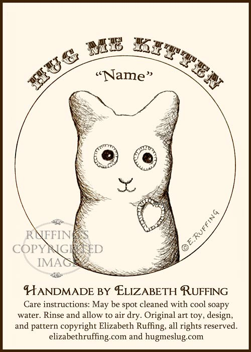 Fleece Hug Me Kitten Hang Tag by Elizabeth Ruffing