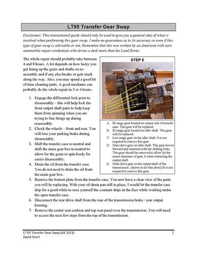 LT95 Transfer Case High Range Gear Swap Instructions - Stage 1 V8