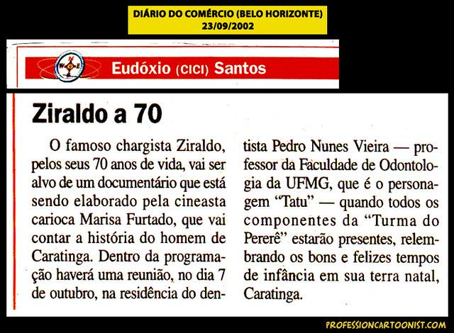 """""""Ziraldo a 70"""" - Diário do Comércio (BH) - 23/09/2002"""