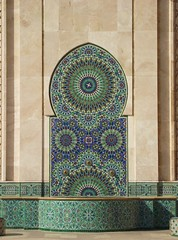 Stone Patterns (jcm715) Tags: city urban abstract building geometric water fountain stone architecture modern town casa worship pattern arch northafrica geometry mosaic muslim islam faith religion mosque morocco human huge casablanca archway islamic tiling purity colorphotoaward