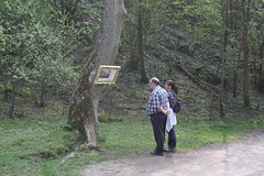 Visitors enjoying the Pictures in the Landscape exhibition in Dovedale (Enlightenment!) Tags: painting nationaltrust dovedale eighteenthcentury buxtonmuseum picturesinthelandscape dovedalebuxtonmuseum