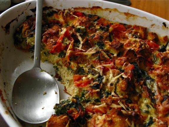 swiss chard tomato spinach asiago strata 008