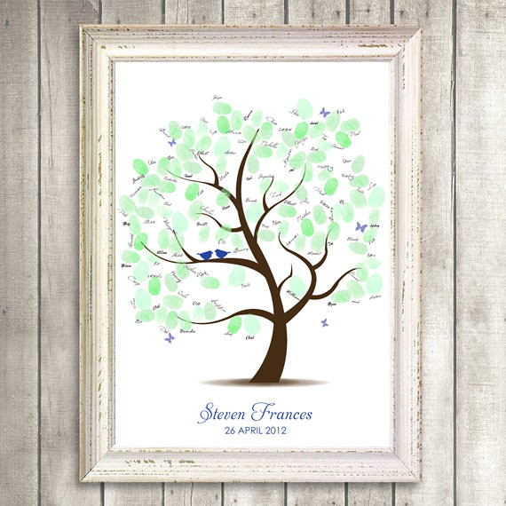 printable baby guest book fingerprint tree
