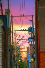 alleyway (davedehetre) Tags: sunset sky urban brick landscape wire alley transformer alleyway gradient hdr photomatix