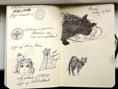 TARDIS dress ideas and Boomer sketches (Moleskine sketchbook)