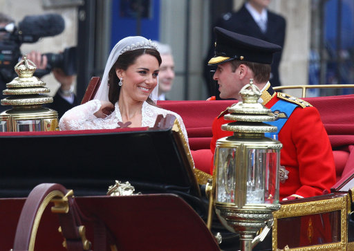 The Duke and Duchess of Cambridge leaving Westminster Abbey