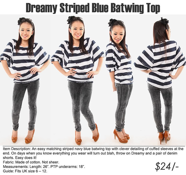 Dreamy Striped Blue Batwing Top