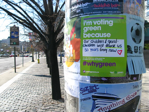 green party flyer referencing twitter in Ottawa