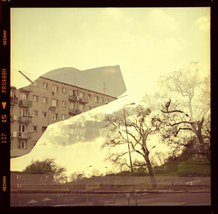 My skyline. (symbolicinteraction) Tags: street monument fighter multiexposure mamiyac220 80mm mig15 fujipro400h