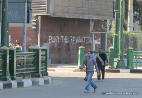 ".""Enjoy the Revolution"" street art in Tahrir Square"