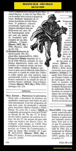 """""""Will Eisner - Profissão Cartunista"""" - Revista Veja SP - 06/10/1999"""