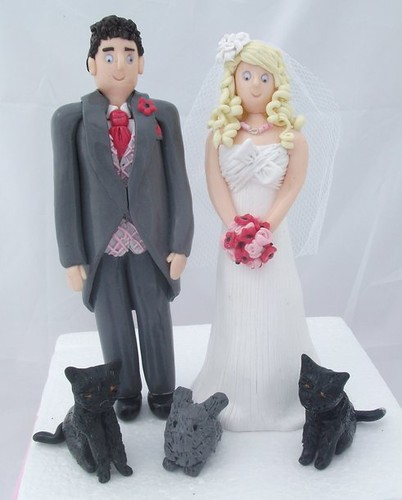 Bride and Groom with Family Pets Cake Toppers by pauline@weddingtreasures