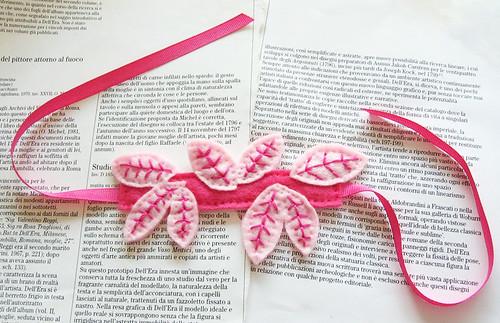 Pink leaves cuff bracelet