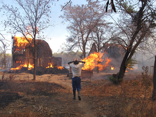 A worker on the Campbell farm watches helplessly as farm buildings burn.