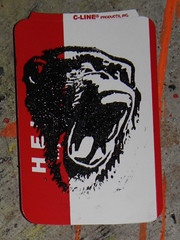 chimp (andres musta) Tags: hello face print is sticker stickerart chimp name yawn scream block chimpanzee screaming linoleum andres lino hellomynameis yawning musta hmni
