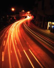 Night lights (sidjej) Tags: city cars car night canon eos lights tram sigma curve uwa ultrawideangle