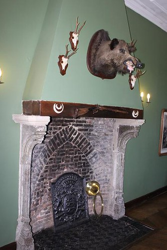 hunting trophy above fire place