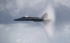 F/A-18C Hornet breaks the sound barrier (Official U.S. Navy Imagery) Tags: navy pacificocean sailor aircraftcarrier usnavy soundbarrier nimitzclass fa18chornet vfa113 usscarlvinsoncvn70 strikefightersquadron113 cvw17 carrierairwing17 airpowerdemonstration