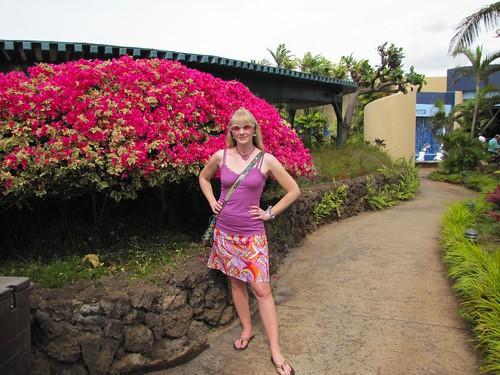 a brightly colored bush and outfit