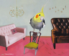 Please have a seat (YokosGallery) Tags: portrait pets art birds glitter pen painting paper chair acrylic originalpainting terracotta interior parrot canvas sofa chandelier cockatiel welcome etsy rhinestone emerald walldecor yokosgallery