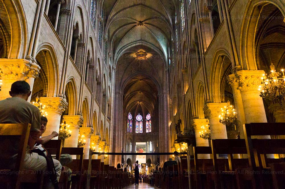 Inside Notre Dame Cathedral @ Paris, France