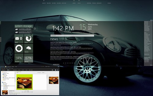 Desktop showing VentZer0 W7 Theme by robhigareda