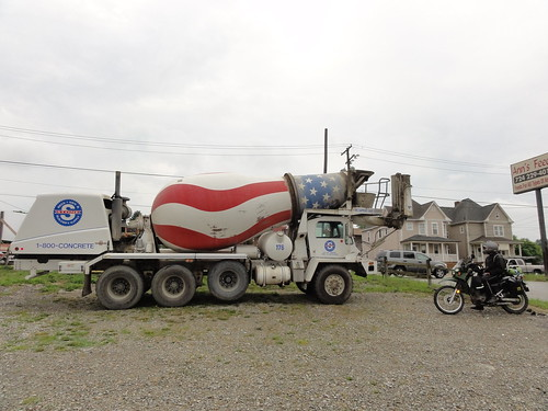 Backward cement truck