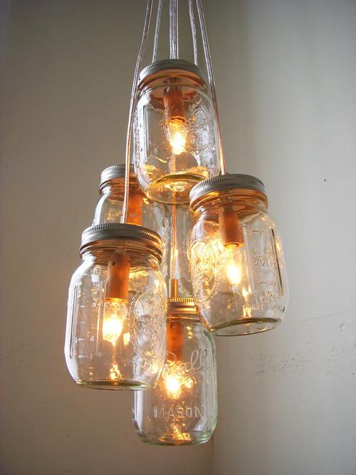 Mason jar chandeliers