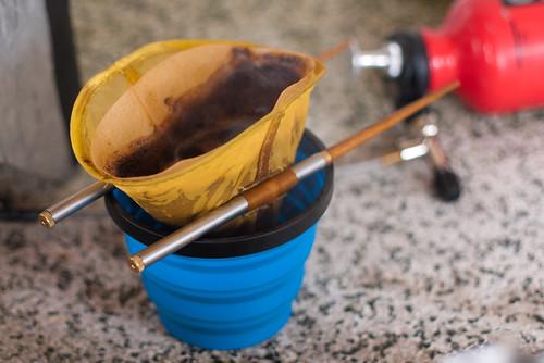 Montbell coffee filter holder in Hamamatsu Camping Ground, Hamamatsu, Hokkaido, Japan