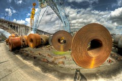 Cool and rusty rolls - explored (A r l e t t e (reloaded)) Tags: industry metal photoshop rust industrial belgium fisheye explore 8mm hdr lightroom arlette seraing photomatix samyang samyang8mm rollsofmetal