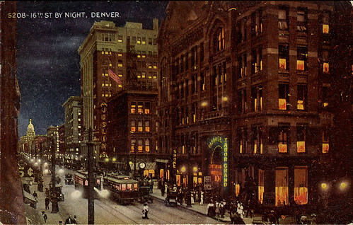 Denver by night postcard_tatteredandlost
