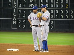 Blanco and Kinsler (cack_handed) Tags: texasrangers mlb iankinsler andresblanco