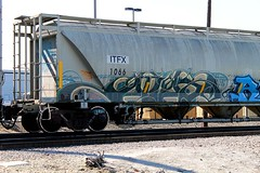 ATLAS (KNOWLEDGE IS KING_) Tags: 2003 color art yard train bench graffiti paint tracks railway sunny canvas socal crew atlas piece burner bomb hopper freight rolling lts cbs spraycan fill wildstyle in itfx