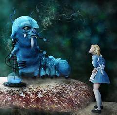 Alice and the Caterpillar (Bel's World) Tags: daz 3dmodeling aliceinwonderland caterpillar hookah storybook
