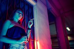 Back To Business (Jon Siegel) Tags: nikon d810 sigma 24mm sigma24mmf14art sigma24mmf14 woman girl sexy smoking modeling model wongkarwai night evening mysterious cinematography cinematic chinese tattoos tattoo people glow urban singapore singaporean