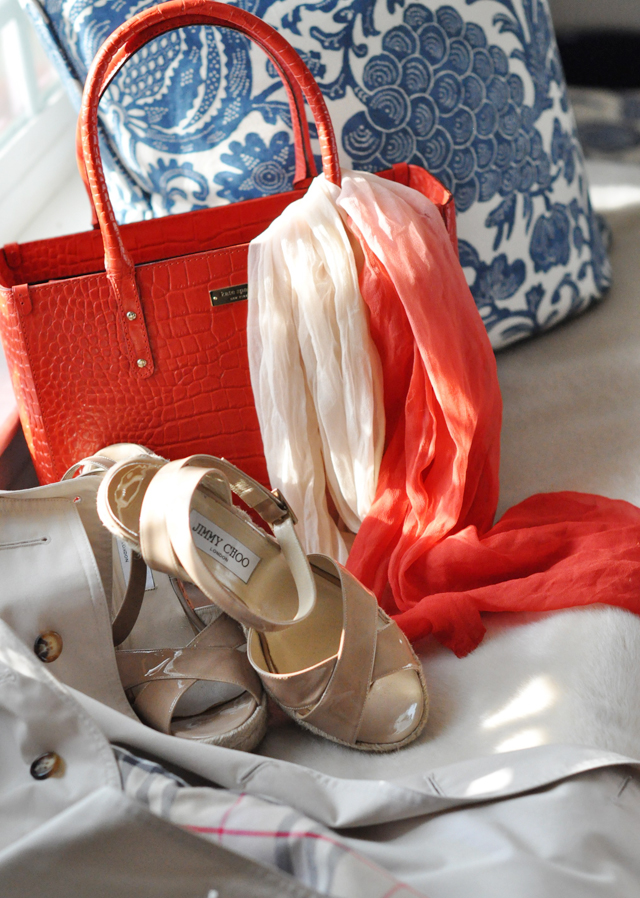 kate spade, kate spade tote bag, red bag, jimmy choo sandals, jimmy choos, barclay butera pillows, DSC_0555