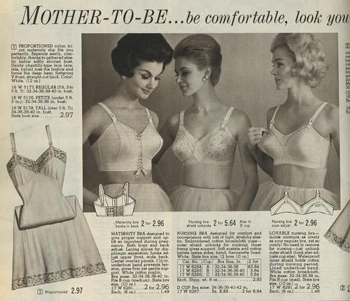 woman fashion vintage tricot costume underwear spiegel bra mother maternity blonde slip catalog 1960s brunette nursing nylon sixties 1963