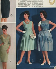Spiegel 1963 evening frocks (genibee) Tags: blue flower green fashion vintage print necklace costume dress sandals turquoise teal spiegel retro gloves catalog clutch frock 1963 sheath