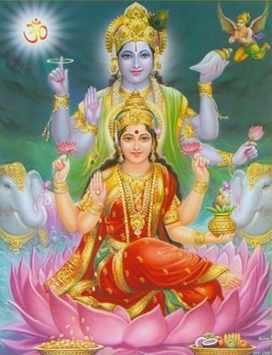 Sri Laxmi With God Vishnu Wallpaper